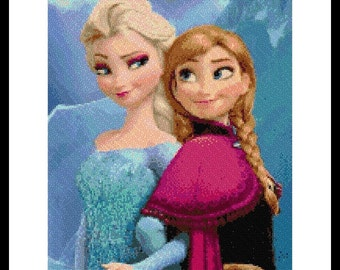 Cross stitch pattern - Elsa and Anna - cross stitch Frozen - cross stitch Elsa - cross stitch Anna - disney - Frozen - Instant Download!