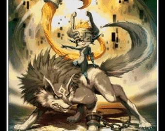 The Legend of Zeda - Minda and Wolf - cross stitch pattern - cross stitch - cross stitch Zelda - cross stitch Minda - PDF pattern!