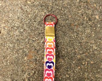 Hearts Ducttape Wristlet Keychain
