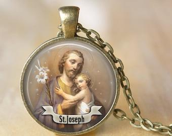 St Joseph Necklace Saint Pendant Necklace Art Handmade Pendant Jewelry Necklace Christmas Necklace