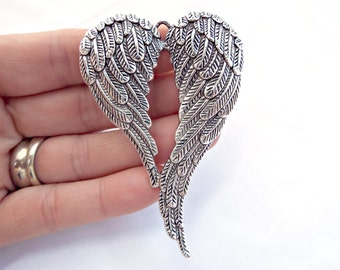 Angel Wings Pendant, Large Silver Pendant, Tibetan Silver Style, 70mm Wing Pendant, Silver Angel Pendant, UK Seller, Jewelry Supplies