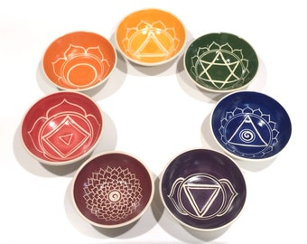 Individual Chakra Bowls, Hand-Thrown and Carved Porcelain
