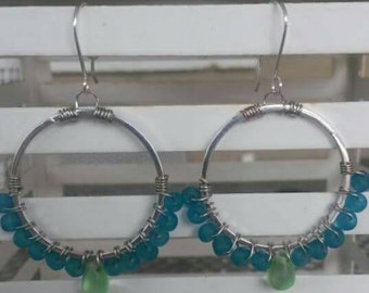 Sea glass wire wrapped hoops