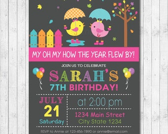 Birdies Birthday Invitation, Birdies Invite, Bird Invitation, Bird Invite, Autumn, Digital Printable Invitation