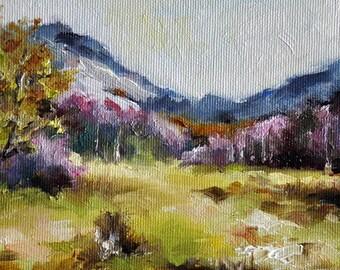 Original Landscape Painting, Impressionist Oil Painting, Mountain Forest Landscape 6x6 Inch