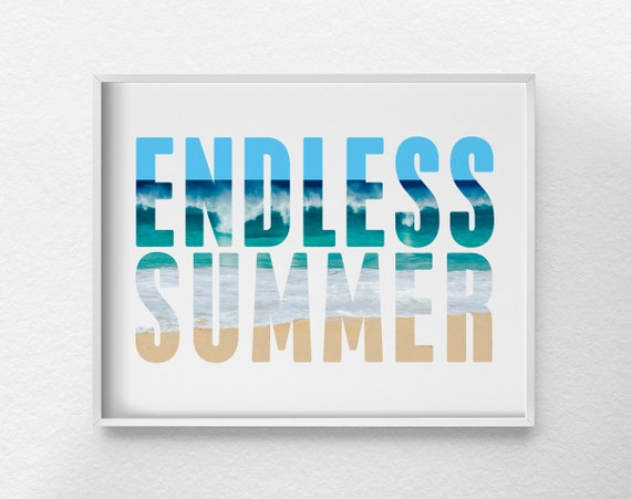 Endless summer print surf decor beach art beach decor for Summer beach decor