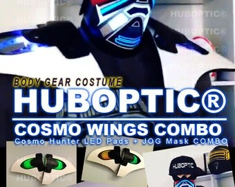 Light Up Wings - LED Robot Wings Mask Combo for Future Ai Light Up Costume Sound Reactive Cyborg Futuristic rave edc Wear Cyber EDM Party