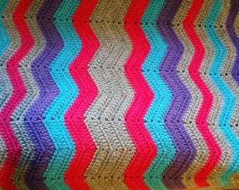 Chevron Crochet Full Size Afghan- pink, teal, purple and gray