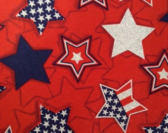 SALE - One Half Yard of Fabric Material - Patriotic Glitter Stars
