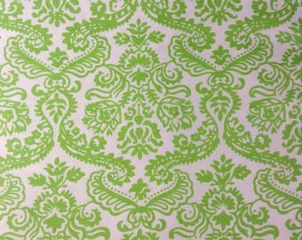One Half Yard of Fabric Material - Dainty Damask Lime