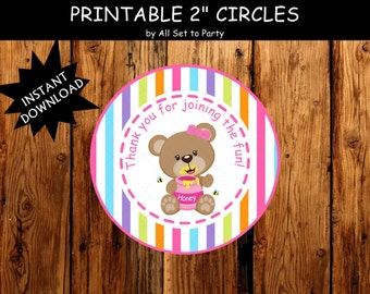 Picnic Bear Birthday Party, Girl 1st Thank You Tags, Bear Birthday Party Decorations, Happy Birthday, Party Printables, Instant Download