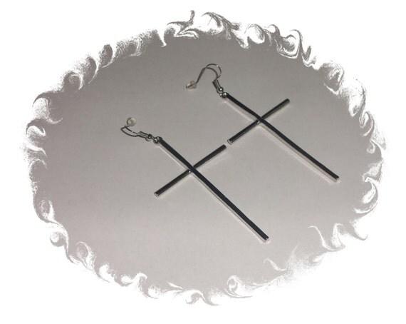 Silver Long Cross Earrings