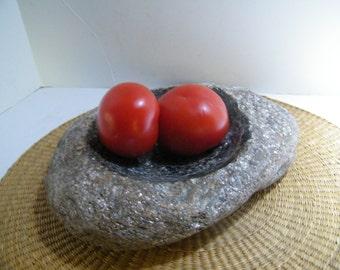 Bowl, Stone Bowl, Fruit Bowl,Large Shallow Stone Bowl