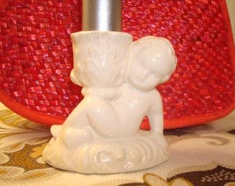 Vintage Ceramic Cherub Candle Holder - Circa 1980 - Angelic!!