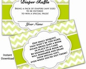 In Lieu of Card, Book Baby Shower Inserts Diaper Raffle Combo Tickets Door Prize Inserts Lime Chevron Gender Neutral DIY INSTANT DOWNLOAD
