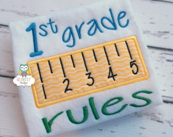 1st Grade Rules, Back to School Shirt, First Day of School Shirt, Ruler Shirt, Kindergarten, Preschool, Pre-K, 2nd Grade, 3rd Grade Shirt