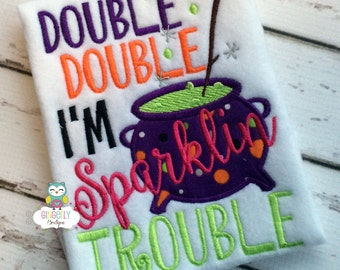 Double, Double I'm Sparklin Trouble Shirt or Bodysuit, Girl Halloween Shirt, Hocus Pocus Shirt, Halloween