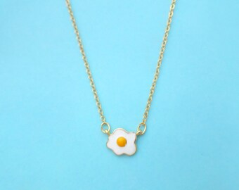 Fried egg, Sunny side up, Yummy, Gold, Necklace, Birthday, Friendship, Mom, Sister, Gift, Jewelry