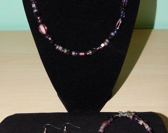 Purple and Black beaded 3 piece set