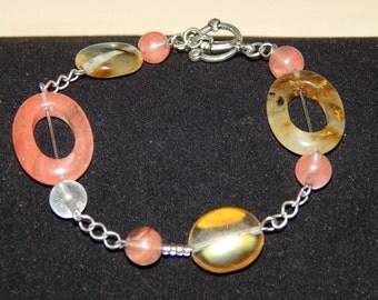 Pink and Tan link bracelet