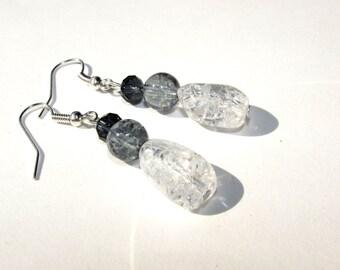 Dangle Earrings, Beaded Earrings, Silver Earrings,
