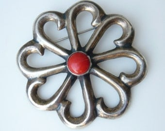 Vintage Native American Navajo Sand Cast Sterling Brooch with Coral Cabochon