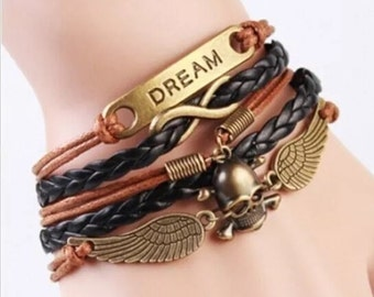Infinity bracelet Dream skull wings  brand new