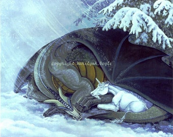 GICLEE FANTASY PRINT; dragon and unicorn foal, winter storm, shelter under tree, wall art, 11 x 14 inches,