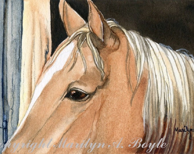 ORIGINAL WATERCOLOR PAINTING; miniature art, palomino horse, 4 x 7 inches, wall art, stall, Canadian art