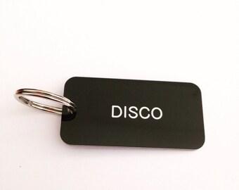 Disco Keyring Keyfob in Black + White