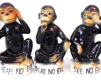 Vintage Collectible See No Evil, Hear No Evil and Speak No Evil Monkey Figures, Decorative Set, Charming Monkeys, Animal Theme, Display Set