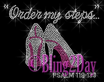 Order my steps - PINK High Heel - Iron on Rhinestone Transfer Bling Hot Fix Applique Step Shoe - DIY