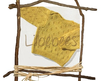 Baby Knitting Pattern - PDF Download - Knitted baby sweater - envelope neckline.