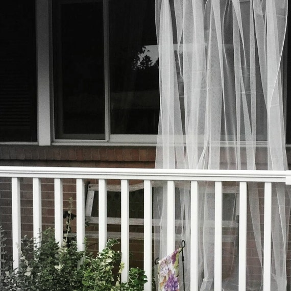 One White Outdoor Curtain Sheer Net Lace Garden Panels