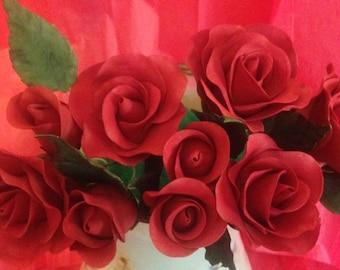 Long stem gumpaste Roses! ~ Edible ~ Dozen!! ~ Wedding Cake ~ Bridal Shower ~ Baby Shower