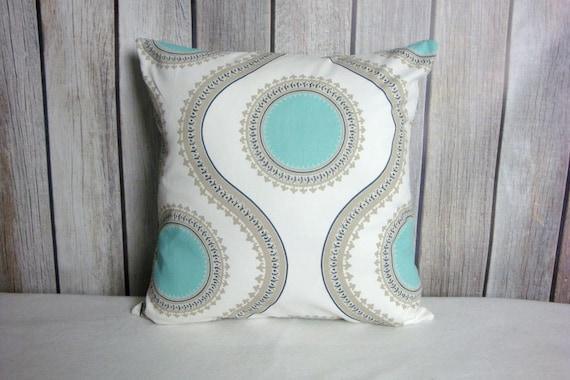 Aqua Pillows. Aqua Grey Pillows. Pillow Covers. Blue White Pillows. Accent Pillows