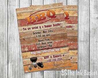 BBQ Invitation, Cook Out Invitation, July 4th Invitation, Memorial Day Invitation, Yard Party Invitation