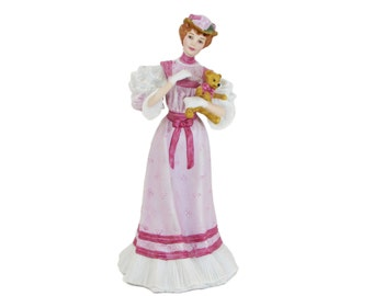 Gorham At The Fair Pink The Parasol Ladies Porcelain Figurine, Victorian Gibson Lenox Limited Edition (No Parasol)