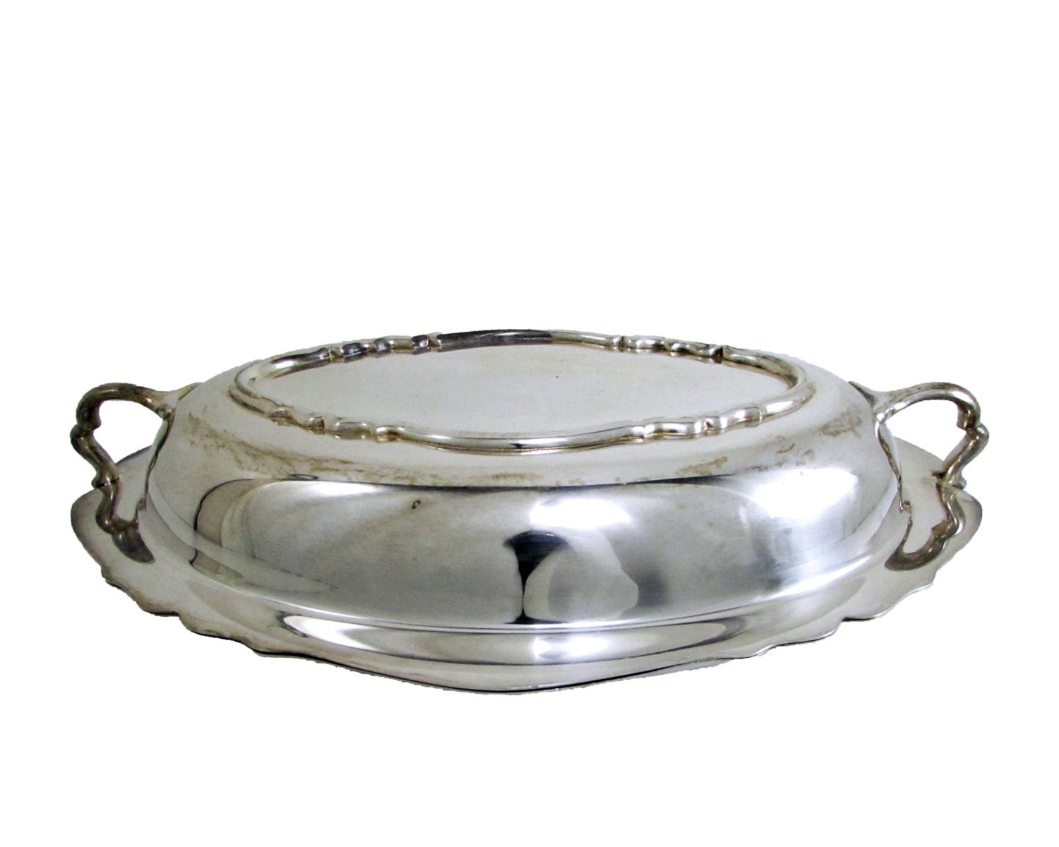 SheffieldSilver Co 1 QueenAnne 3Qt Silverplated Chafing Dish 1 Vegtable Dish