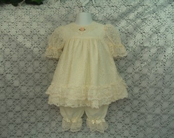 Toddlers Ivory dress with bloomers Vintage 90s