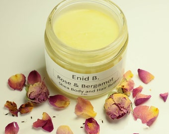 2 oz. Rose and Bergamot Shea Hair and Body Butter Moisturizer