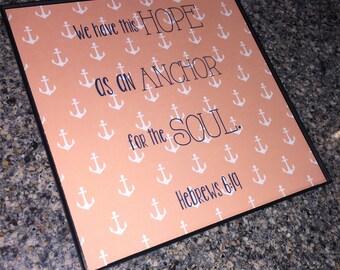 Hope Anchor Hebrews 6:19 Bible Verse Wall Art
