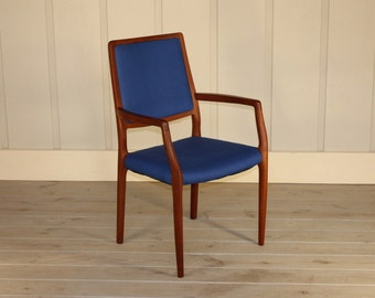 JL Moller Teak Wood Arm Chair Made In Denmark Mid Century Modern Retro 50's 60's New Blue Fabric