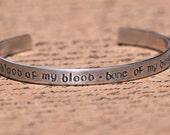 Blood of my Blood, Bone of my Bone - Outlander - Scottish Gaelic Aluminum Bracelet Cuff - Hand Stamped