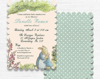 PRINTED Peter Rabbit Baby Shower OR Birthday Invitation SCALLOP die cut