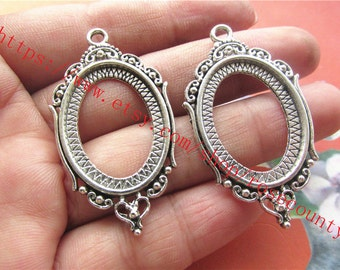 Wholesale 20pcs antiqued silver oval bezel trays(cabochon size is 25x18mm) setting  pendant findings