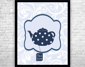 Kitchen Wall Art, Tea Time Print, Blue Kitchen Art, Kitchen Typography, Kitchen Wall Decor, Kitchen Poster Print, Wall Art Kitchen
