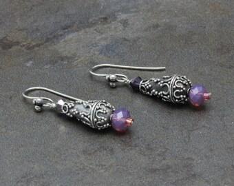 15 - Sterling Silver, Swarovski Crystals, Purple, Teardrop, Dangle Earrings, One of a Kind, OOAK