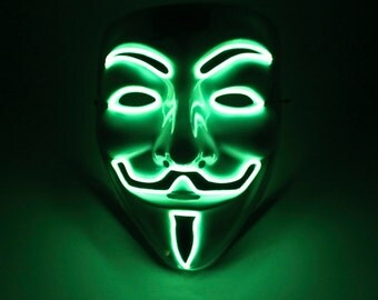 Light Up Vendetta Mask El Wire Lime Green - Halloween Special