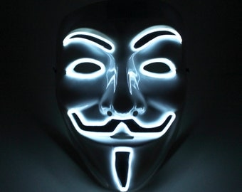 Light Up Vendetta Mask El Wire White - Halloween Special